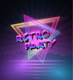 1980 Neon Poster Retro Disco 80s Background made in Tron style w. Illustration of 1980 Neon Poster Retro Disco 80s Background made in Tron style with Triangles Royalty Free Stock Photo