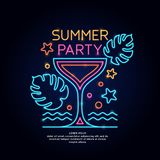 The neon poster summer party. Advertising travel on vacation to the sea. Vector illustration on black background royalty free illustration