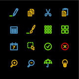 Neon publish icons. Vector icon set, neon series Royalty Free Stock Image