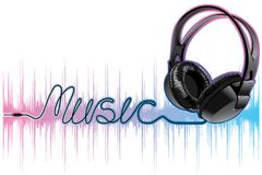 Neon pulsing music headphones Stock Images