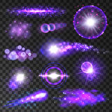 Neon purple glitter lights and sparkles. Purple lights. Neon bokeh light flashes and sparkles. Twinkling star, shining sun beams and sparks with lens flare Stock Photo