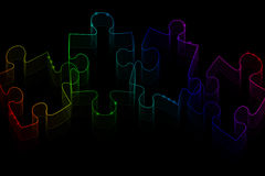 Neon puzzle pieces Royalty Free Stock Photo