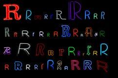 neon r för samlingsbokstav Royaltyfri Foto