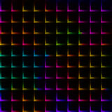 Neon rainbow bright color grid with thorns - seamless background Stock Photos