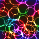 Neon rainbow color bright bubbles - seamless background Stock Photo