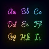 Neon rainbow color glow alphabet. Stock Photography