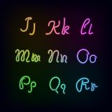 Neon rainbow color glow alphabet. Stock Photo