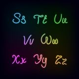 Neon rainbow color glow alphabet. Royalty Free Stock Photo