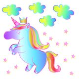 Neon rainbow unicorn - children`s fantasy animal. Cute destic unicorn - a fairy tale with stars and clouds on an isolated white background. Beautiful magic Stock Photo