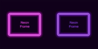 Neon rectangle frame in purple and violet color. Vector template of neon frame consisting of three outlines, with soft backlight on the dark background royalty free illustration
