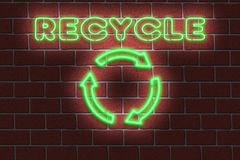 Neon RECYCLE sign Royalty Free Stock Image