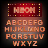 Neon red alphabet. Stock Photos
