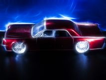 Neon red car miniture royalty free stock photo