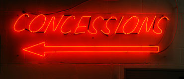 Neon Red Concessions Sign Stock Photo