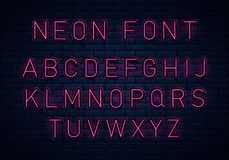 Neon red font vector illustration