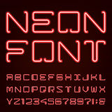 Neon Red Light Alphabet Vector Font. Royalty Free Stock Photo