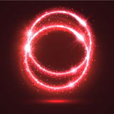 Neon red light flashes on sparkling vector rings. Abstract red light rings or sparkling and shining neon circles with luminous glitter sparks. Magic blur lights Stock Photography