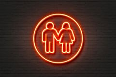 Neon light icon man woman. Neon red light icon man woman wall sign stock illustration
