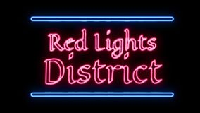 Neon Red Lights District Sign in Retro Style Turning On. Neon Red Lights District Sign in Retro Style stock video footage