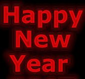 Neon red New year banner Stock Photo