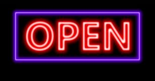Neon red open sign Royalty Free Stock Photos