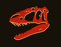 Neon red t-rex skull royalty free stock images