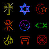 Neon Religious Symbols Stock Photography