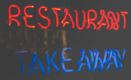 Neon Restaurant Sign. Vintage Neon Takeaway Sign From Restaurant Royalty Free Stock Images