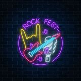 Neon rock festival sign with guitar, microphone and rock gesture in round frame. Live music in open air icon. Glowing signboard of radio station. Music show Stock Photos