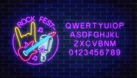 Neon rock festival sign with guitar, microphone and rock gesture in round frame. Live music in open air icon. Glowing signboard of radio station. Alphabet Stock Image