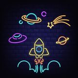 Neon rocket, ufo, Saturn planet and comet icons royalty free stock photography