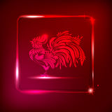 Neon rooster on dark red background with shining frame. stylized Stock Photography
