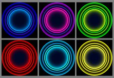 Neon round frame. Shining circle banner. Vector illustration stock illustration