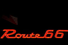 Neon Route 66 Sign Royalty Free Stock Photography