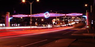 Neon Route 66 stock photography