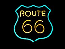 Neon Route 66 sign Royalty Free Stock Image