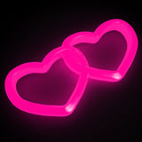 Neon roze harten Stock Fotografie