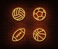 Neon Rugby, Soccer, Basketball, Volleyball Balls Sign Vector Isolated On Brick Wall. Sport Balls Lig Stock Photography