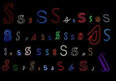 neon s för samlingsbokstav Fotografering för Bildbyråer