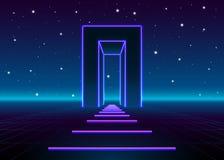 Neon 80s redete enormes Tor in der Retro- Spiellandschaft mit glänzender Straße zur Zukunft an Lizenzfreie Stockfotos