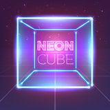 Neon 80s styled cube on retro game landscape. Vector glowing box. Neon 80s styled cube on retro game landscape. Vector glowing box Stock Photography