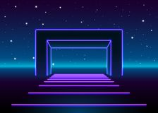 Neon 80s styled massive gate in retro game landscape with shiny road to the future. Neon 80s styled massive gate in retro game landscape with shiny road stock illustration