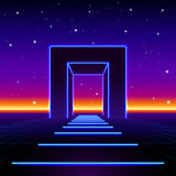 Neon 80s styled massive gate in retro game landscape with shiny road to the future. Neon 80s styled massive gate in retro game landscape with shiny road Royalty Free Stock Photography