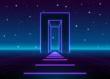 Neon 80s styled massive gate in retro game landscape with shiny road to the future. Neon 80s styled massive gate in retro game landscape with shiny road Royalty Free Stock Photos