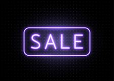 Neon sale banner with line frame. Luminous light blue type text sign Stock Image
