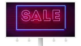 Neon sale sign on dark wall background. Editable vector billboard. 3D illustration with glowing shapes isolated on white. Luminous signboard, nightly stock illustration
