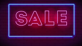 Neon sale sign on dark wall background. Editable vector 3D illustration with glowing shapes. Luminous signboard, nightly. Advertisement of sales and discount stock illustration