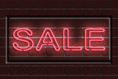 Neon Sale Sign. Illustration of a neon sign with the word SALE against a dark brick wall Stock Photos