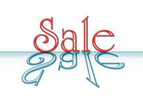 Neon Sale Sign with Reflection. The word Sale in red neon reflected in blue stock illustration