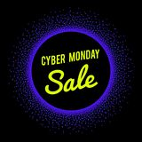 Neon sale technology banner for Cyber Monday event. Royalty Free Stock Photography